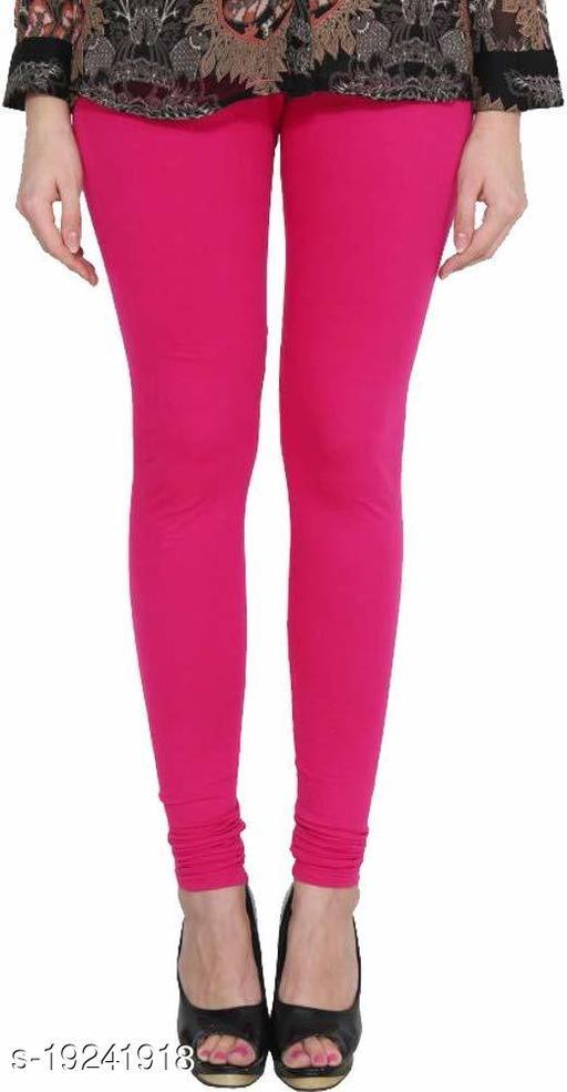 City Fashion Women's Solid Dark Pink Cotton Lycra Blend Churidar Leggings (30 to 38)