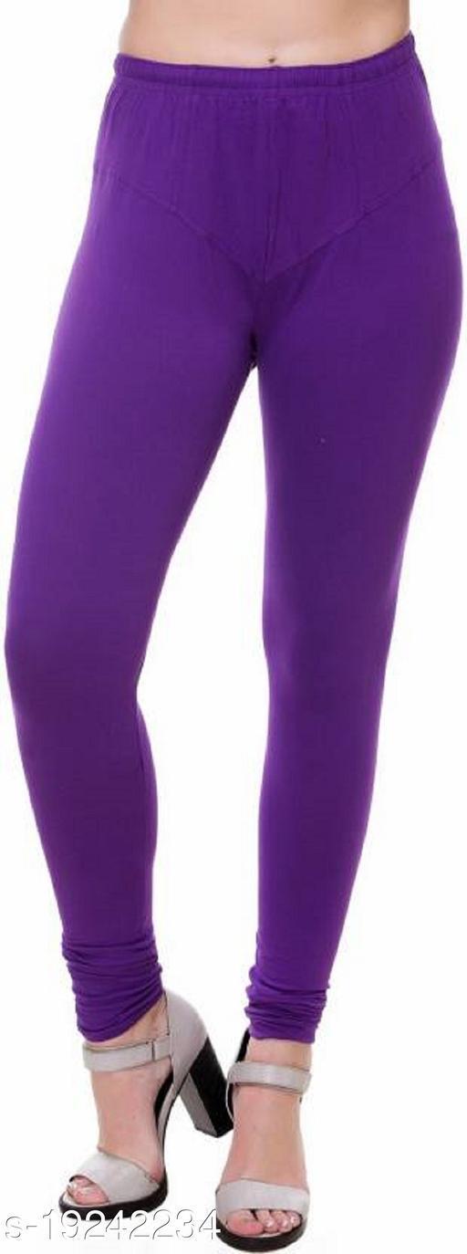 City Fashion Women's Solid Purple Cotton Lycra Blend Churidar Leggings (30 to 38)