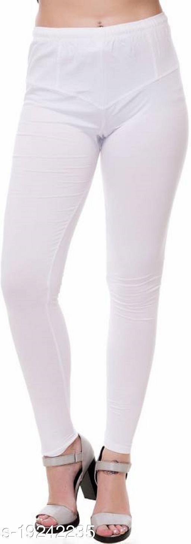 City Fashion Women's Solid Off white Cotton Lycra Blend Churidar Leggings (30 to 38)