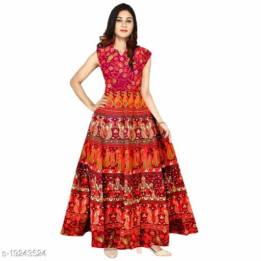 Women's Maxi Dress Jaipuri Print Cotton Kurti