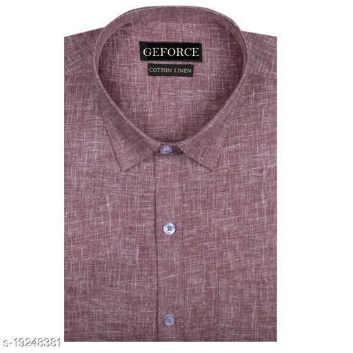 Men's Full/Long Sleeves Formal Regular Fit Plain Cotton Linen Shirt
