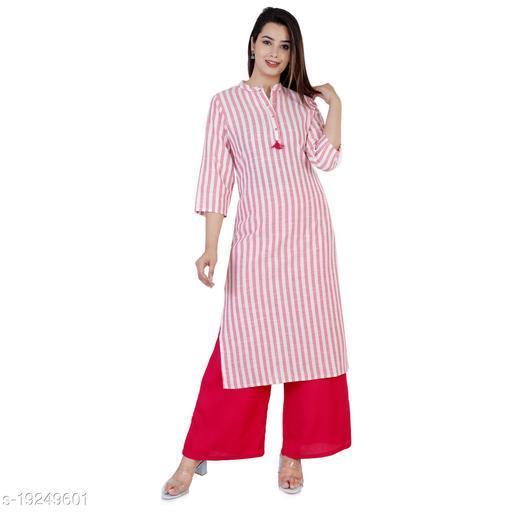 Women Cotton Blend Straight Stripe Kurti