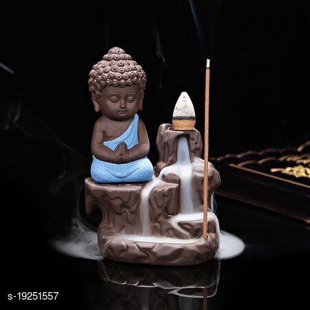 Foria Meditating Little baby Monk Buddha with 10 Smoke Backflow Cone Incense Decorative Showpiece - 12 cm (Polyresin, Blue)