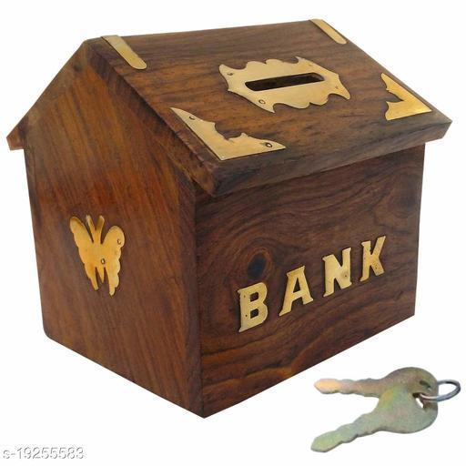 Beautiful Wooden Brown Hut Piggy Bank/Money Bank