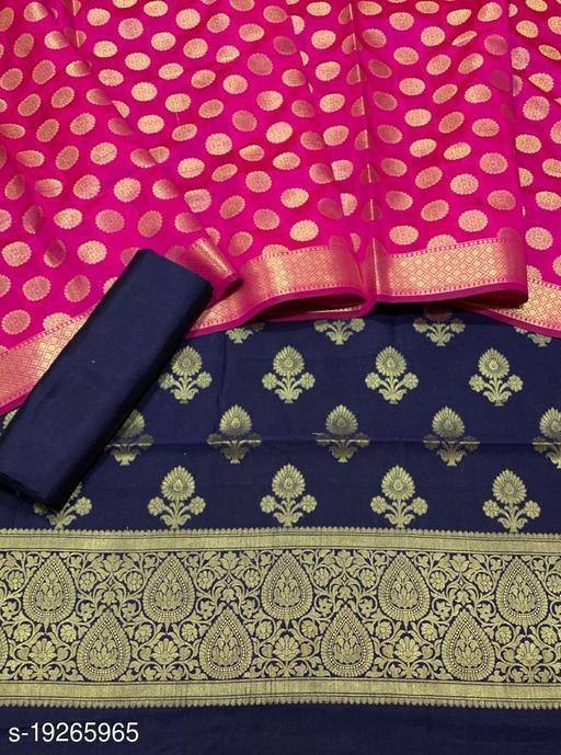 Fabulous Unstitch Banarsi Contrass Matching Silk Suit (20Navy Blue)