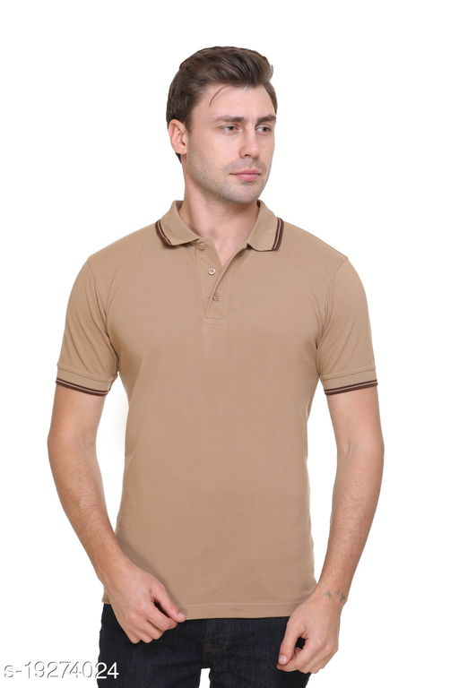 PIKMEE Men's Cotton Collor Solid Casual T-Shirts