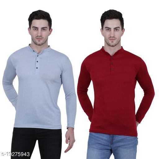 KETEX Henley  neck spun cotton fullsleeves men's tshirt (PACK OF 2)