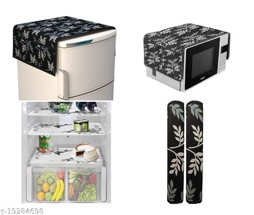 Goel HD combo of 1 fridge top, 2 handle covers, 3 fridge mats and 1 oven cover(Brown Leaf)-set of 7 pieces