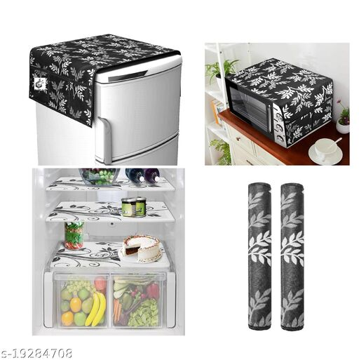 Goel HD combo of 1 fridge top, 1 handle cover, 4 fridge mat and 1 oven cover(Brown Leaf)-set of 7 pieces