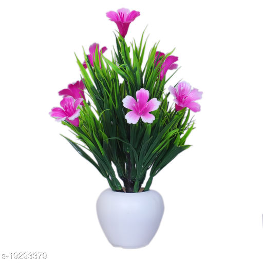 Modo Artificial Buttercup Flowers Plant with Round Pot for Office,Home,Indoor Decor-21 CM (Purple,1 Piece)