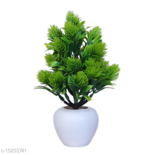 Modo Artificial Buttercup Flowers Plant with Round Pot for Office,Home,Indoor Decor-21 CM (Green,1 Piece)