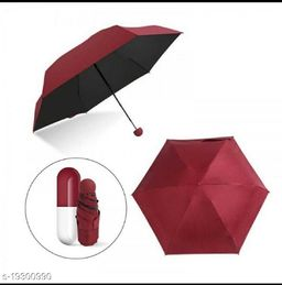 Regular Wants Capsule Case Pocket Size Travelling Foldable Umbrella (Pink) with 1 attractive free gift
