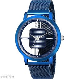 Best Watch Blue Round Open Dial Blue color maganet strap New Fashion Men Analog Watch