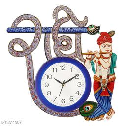Wall Clock for Home Living Room Office Wooden(Radhe Krishna) (16 inches x 12.2 inches)
