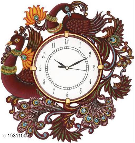 MK HANDICRAFT Ajanta Peacock Wood Wall Clock (14x14 Inches)