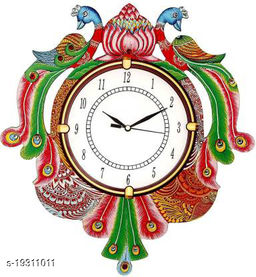 Ajanta Couple Peacock Wooden Wall Clock for Home Living Room Office (Green, 15 x 12 Inch)