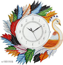 Peacock Wood Wall Clock for Home Living Room (14x14 Inches, Multicolour)