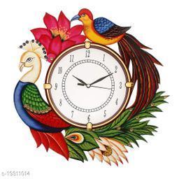 Wall Clock peacock printed Multicolours