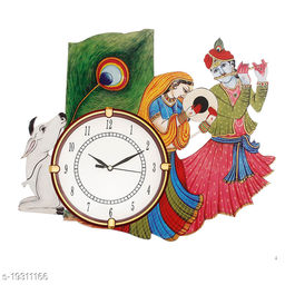 Multicolor Wooden Big Size Radhakrishna Design Ajanta Wall Clock for Home Living Room Office Bedroom Decor (14.5 x 13.5 Inch)