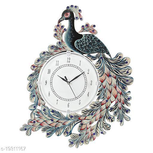 Apnoghar Ajanta Peacock Wooden Wall Clock for Home (Multicolor)