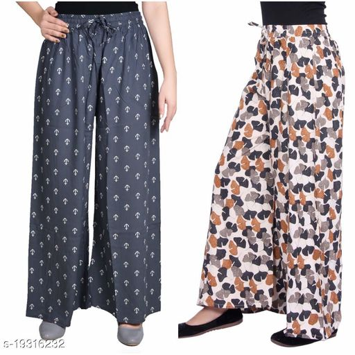 Rajkanya Set of 2 Anchor and Bow Printed Soft Palazzo Free Size For Women and Girls Grey & Black L