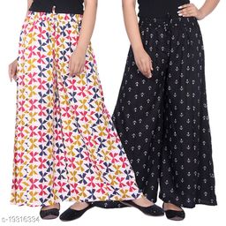 Rajkanya Set of 2 Bow and Anchor Printed Soft Palazzo Free Size For Women and Girls Blue & Black S