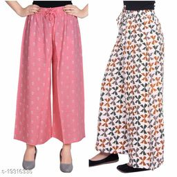 Rajkanya Set of 2 Anchor and Bow Printed Soft Palazzo Free Size For Women and Girls Pink & Brown XL