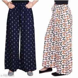 Rajkanya Set of 2 Anchor and Bow Printed Soft Palazzo Free Size For Women and Girls Blue & Brown XXL