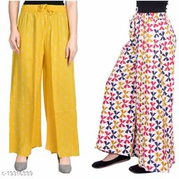 Rajkanya Set of 2 Anchor and Bow Printed Soft Palazzo Free Size For Women and Girls Yellow & Blue M