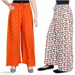 Rajkanya Set of 2 Anchor and Bow Printed Soft Palazzo Free Size For Women and Girls Orange & Brown XXL