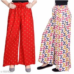 Rajkanya Set of 2 Anchor and Bow Printed Soft Palazzo Free Size For Women and Girls Red & Blue L