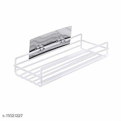 Multipurpose Kitchen Bathroom Shelf Wall Holder Storage Rack Bathroom Rack Storage Box Strong Magic Sticker Shower Rack Shelf (White)