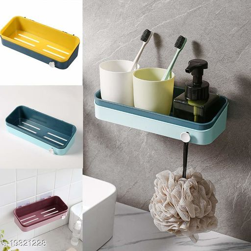 Shower wall Shelves Bathroom Shelf Suction wall Storage Holder Shelves Shelf Organisers Bathroom (Color May Vary)