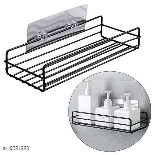 Multipurpose Kitchen Bathroom Shelf Wall Holder Storage Rack Bathroom Rack Storage Box Strong Magic Sticker Shower Rack Shelf (Black)