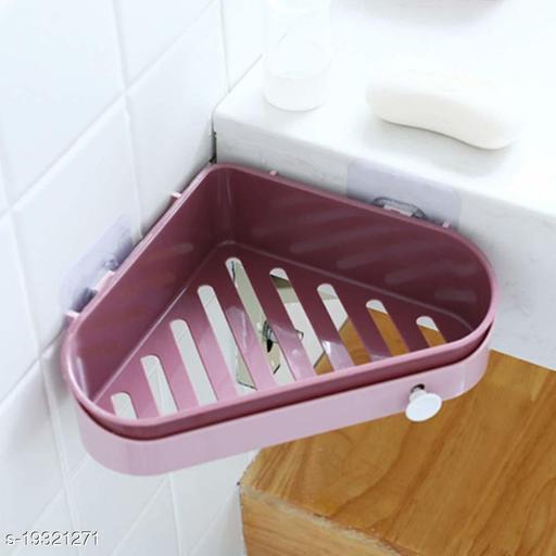 Shower Corner Shelves Bathroom Shelf Suction Corner Storage Holder Shelves Shelf Organisers Bathroom (Color May Vary)