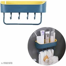 Shower Caddy, Self Adhesive Wall Mounted Shower Organiser, Shampoo Toiletries Shelves Shelf Organizer Spices Storage Basket Soap Holder Tray with 4 Hooks & 1 Towel Bar Rack Rails PACK OF 1 (Color May Vary)