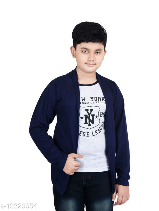 FABSHIO Boy's Full Sleeve T-Shirt with Attached Navy Blue Shrug