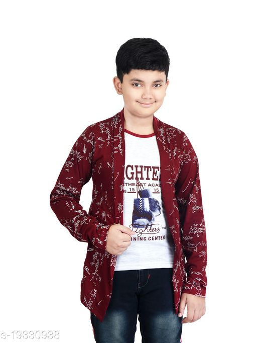 FABSHIO Boy's Full Sleeve T-Shirt with Attached Maroon Shrug
