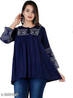 Shree Ganesh Fashion Rayon Fabric Blue Colored Tunic Top
