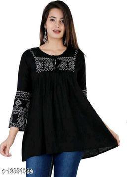 Shree Ganesh Fashion Rayon Fabric Balack Colored Tunic Top