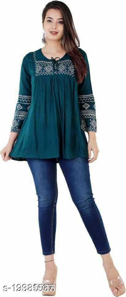 Shree Ganesh Fashion Green Colored Girls Top with Embroidery work .
