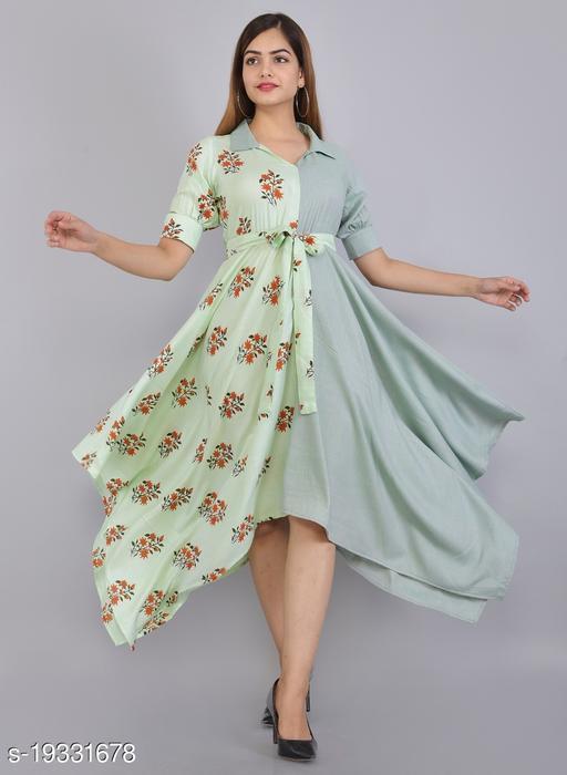 Women Floral Print Rayon Asymmetric Kurta(Light Green)