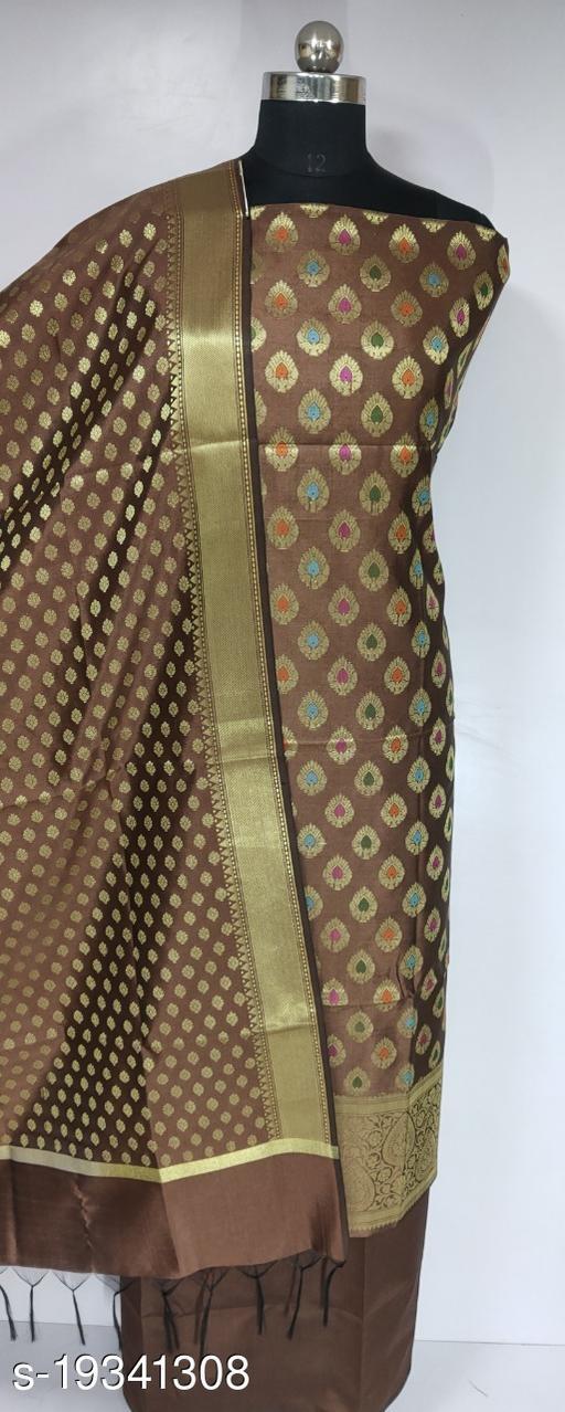 New Trends Fashionable Banarsi Multi Mina Silk Suit (15Khaki)