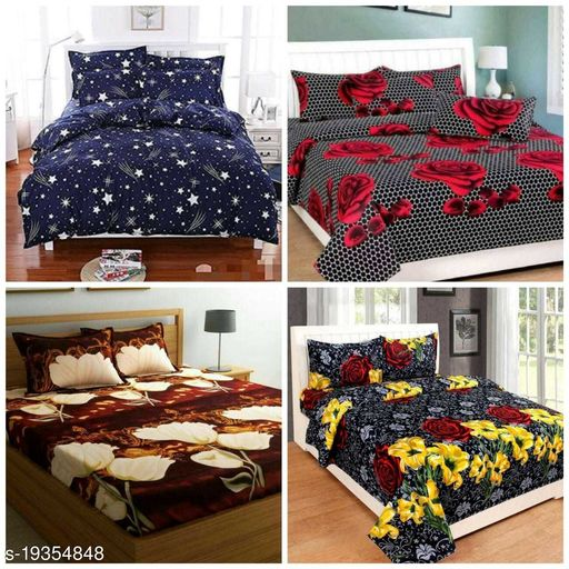 BeautifulRooms Stylish Printed PolyCotton Double Bedsheets Combo of 4 (4 Bedsheets with 8 Pillow Covers)