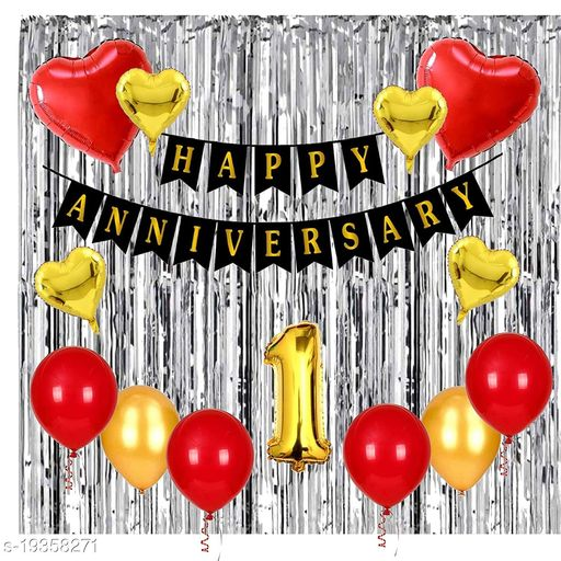 Style Secrets Anniversary Party Pack - 1 Happy Anniversary Banner, Metallic Red and Gold  Balloon - 20Pcs, Golden Heart Shape Foil Balloon - 4, Silver Fringe Curtain ( Pack of 3 ), 1 Number Golden Foil Balloon and Red Heart Foil Balloon - 2