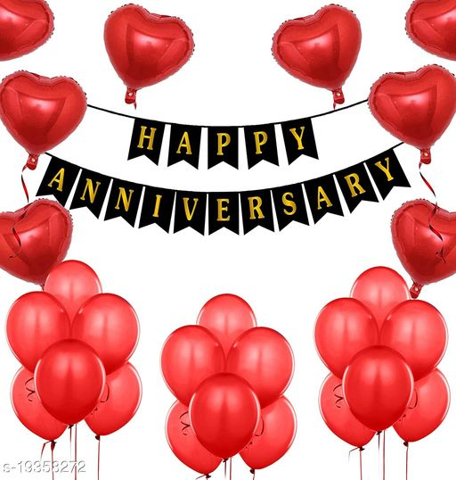 Style Secrets Anniversary Party Pack - 1 Happy Anniversary Banner, Red Latex Balloon - 30Pcs and Red Heart Shape Foil Balloon - 4Pcs