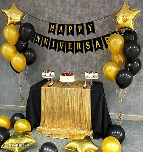 Style Secrets Anniversary Party Pack - 1 Happy Anniversary Banner, Metallic Gold and Black Balloons - 20 ( 10 each Color ) and 5 Golden Star Shape Foil Balloons