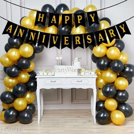 Style Secrets Anniversary Party Pack - 1 Happy Anniversary Banner, Metallic Gold  Balloon - 25Pcs and Metallic Black Balloon - 25Pcs