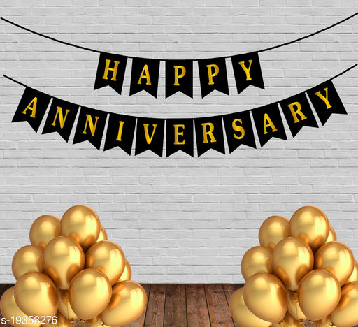 Style Secrets Anniversary Party Pack - 1 Happy Anniversary Banner and 20 Gold Metallic  Balloons