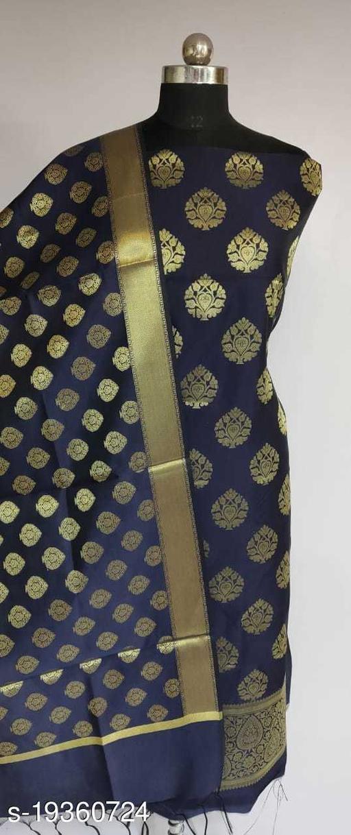 Trendy Unstitch Banarsi Silk Suit (11Navy Blue)